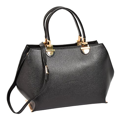 H343 Real Black Handbag Fashion Bag Work Womens Classic Leather Casual pq1A8A