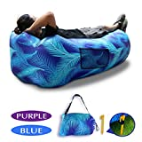 Inflatable Lounger,SUNKONG Air Sleeping Beach Sofa, Lazy Headrest Bag Blue Leaf Pattern Couch Bed with Pocket and Stake Ideal for Summer Versatile Indoors Outdoors Camping Picnics Office