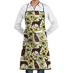 Jtlcbc Australian Kelpie Red Flowers Sunflowers Adjustable Bib Chef Pockets And Extra Long Ties Kitchen Apron For Cooking Baking Crafting Gardening Bbq Gift