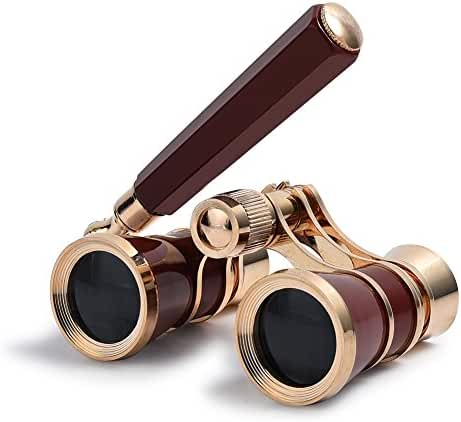 Uarter Opera Glasses Theater Vintage Binoculars With Handle Gold with Red Trim 3X25