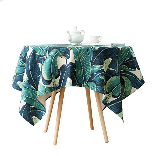 MOMO Green Plant Cotton Cloth Tablecloth Dining Room Table Creative Wallpaper,AA,110x110cm