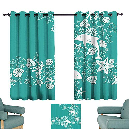 DILITECK Heat Insulation Curtain Sea Animals Dolphins Flowers Sea Life Floral Pattern Starfish Coral Seashell Wallpaper Light Blocking Drapes with Liner W55 xL63 Sea Green White