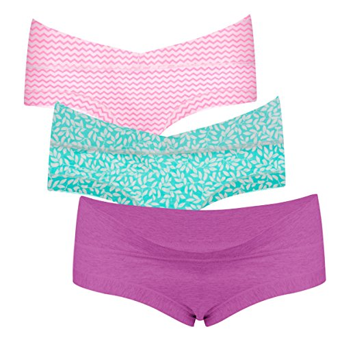 Intimate Portal Women Under The Bump Maternity Panties Pregnancy Cotton Underwear 3-Pk Purple Green Pink S