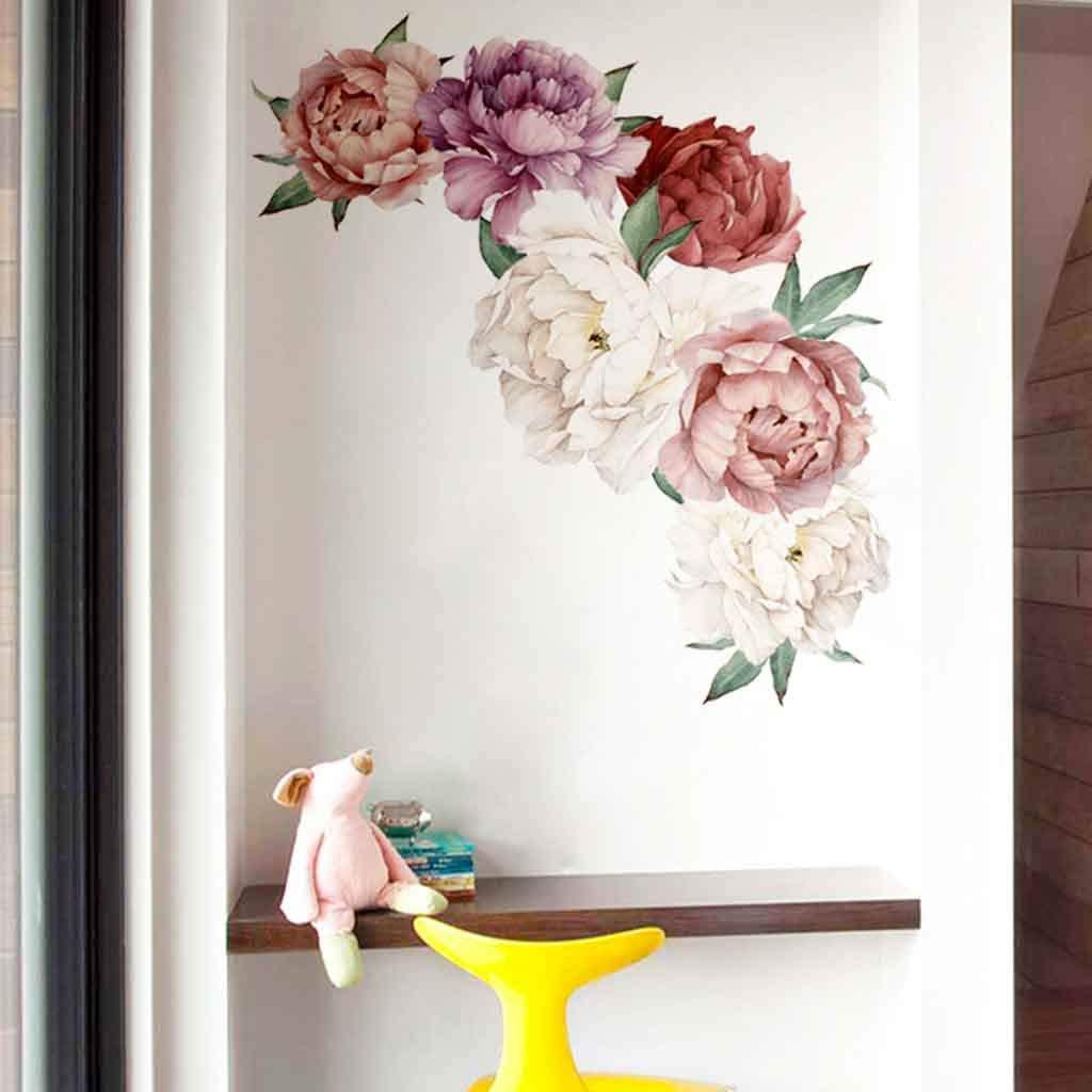 B Peony Flower Wall Sticker Eoeth Wall Art Sticker Decals Kid Room Nursery Home Decor Gift Flower Wall Decals Home Improvement Treatments Wall Decals Murals Decor Vinyl Removable Mural Paper