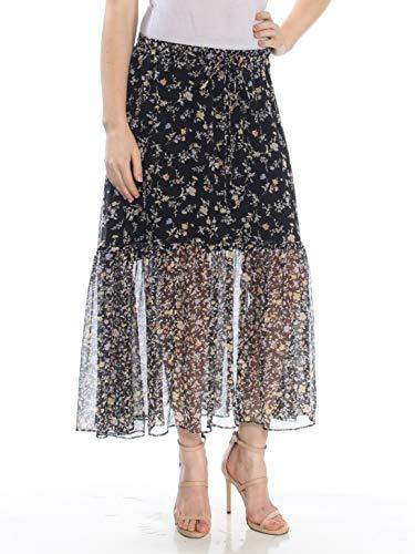 Ralph Lauren $135 Womens Black Floral Print Two Tiered Peasant Skirt M B+B - Ralph Print Skirt Lauren