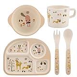 5Pcs/Set Bamboo Fiber Children Board Food Plate Bowl Spoon Fork Set Dishware Cartoon