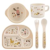 5Pcs/Set Bamboo Fiber Children Board Food Plate Bowl Spoon Fork Set Dishware Cartoon Non Toxic & Eco Friendly Kids Healthy Mealtime(#2)