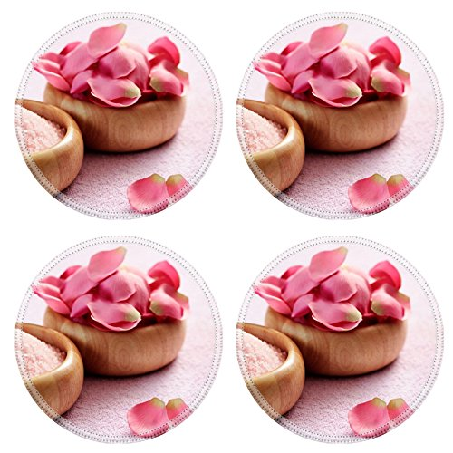 (Liili Round Coasters Non-Slip Natural Rubber Desk Pads bowl of pink with pink rose petals beauty treatment Photo 5669849)