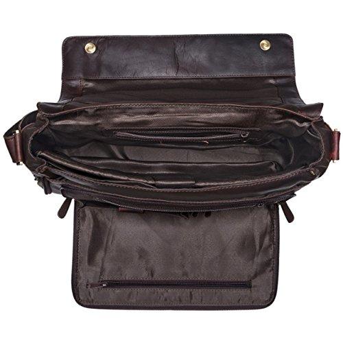STILORD 'Rick' Bolso de piel Vintage Laptop Hombres Mujeres marrón 15.6' Pulgada elegante Unisexe Trabajocuero auténtico de búfalo, Color:rosso ébano - marrón
