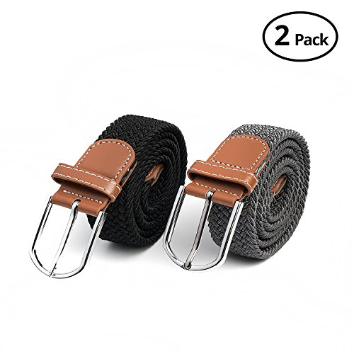 2 Pc HBY Braided Belt Silver Nickel Finish Buckle Faux Leather Elastic Woven Stretch Mens Womens Dress (Woven Elastic Belt)