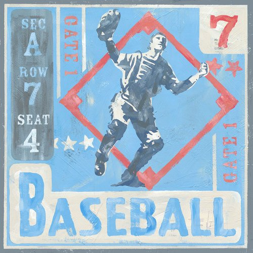 Oopsy Daisy Game Ticket Baseball by Roger Groth Canvas Wall Art, 30 by 30-Inch