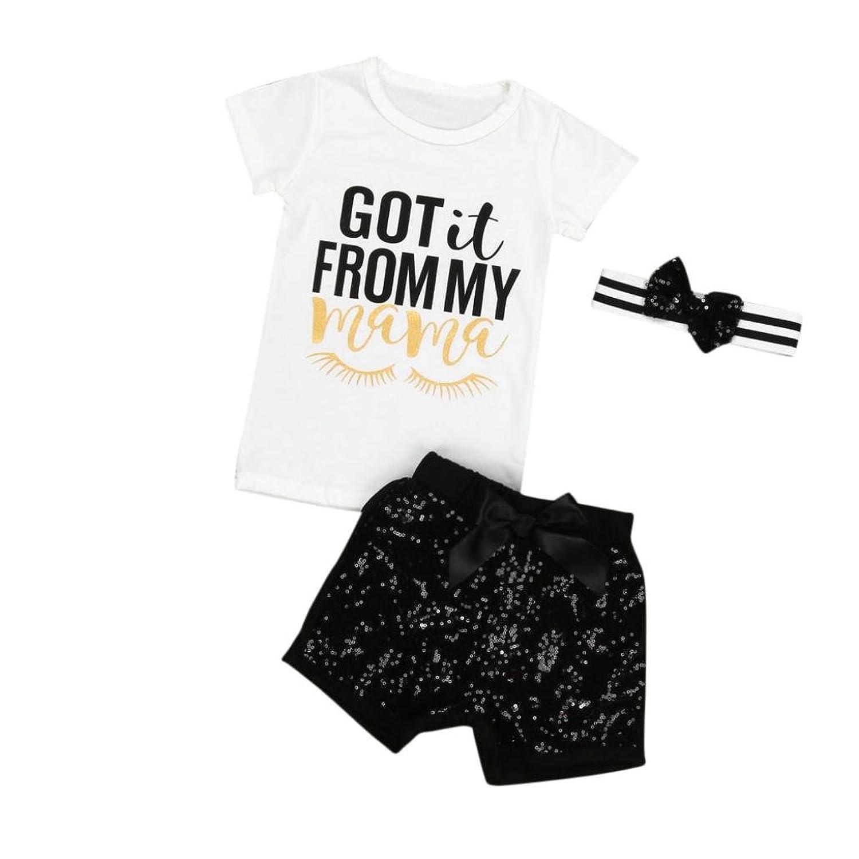 3PCS Bébé Fille T-shirt à Manches Courtes Impression Lettre + Pantalon + Bandeau, Familizo Costumes de Filles