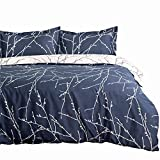 Duvet Cover Set with Zipper Closure-Blue/beige Branch Printed Pattern Reversible,Full/Queen (86x96 inches)-3 Pieces (1 Duvet Cover + 2 Pillow Shams)-110 gsm Ultra Soft Hypoallergenic Microfiber