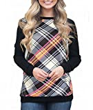 Jusfitsu Women's Casual Long Sleeve Plaid Pullover T-shirt Blouse Tops Pink Stripe S
