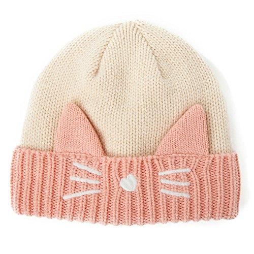 - SIGGI Cat Ears Beanie Pussy Cat Hat Wool Knit Ladies Winter Fleece Beanie Hats Warm Skull Cap Pink