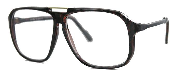 oversized Nerd Brille 70er 80er Jahre Streberbrille Retro Kassengestell Damen Herren WY (braun) vuw0VJyYm