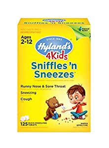 Hyland's 4 Kids Sniffles 'n Sneezes Tablets, Natural Symptomatic Relief of Cold Symptoms for Kids, 125 Quick Dissolving Tablets