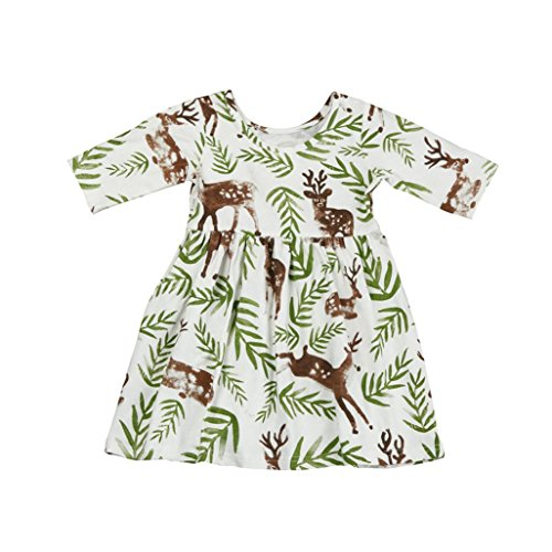 (Kehen Toddler Baby Girl Floral Leaves Deer Print Half Sleeve Princess Pageant Dresses (12M, #1) )