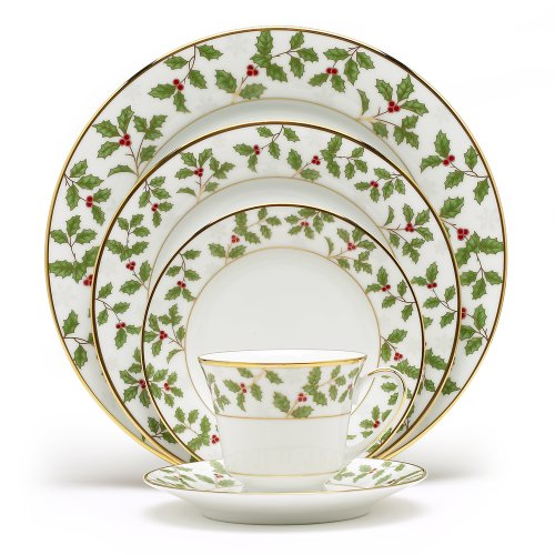 Noritake Gold Dinnerware - Noritake Holly & Berry Gold 5-Piece Place Setting