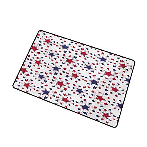 BeckyWCarr USA Inlet Outdoor Door mat Celebration Shooting Star Figures International Freedom Festival Art Print Catch dust Snow and mud W19.7 x L31.5 Inch,Night Blue Ruby White