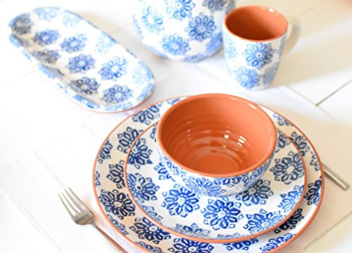 Euro Ceramica Azul Tile Collection 12'' Terra Cotta Snack Tray with 3 3.6'' Dipping/Sauce Bowls, Floral Hand-Painted Design, Blue & White by Euro Ceramica Inc. (Image #2)