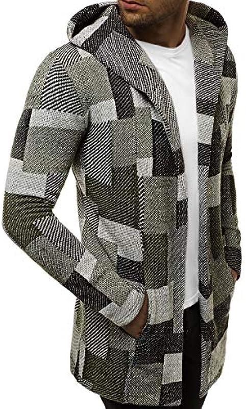 OZONEE Męski sweter długi sweter z dzianiny sweter z kapturem sweter z dzianiny sweter roboczy sweter bluza z kapturem kurtka z długim rękawem sweter zimowy Sweter na Boże Narodzenie 1719: Odzież