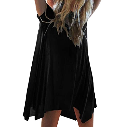 03fec6247fa8 Creazrise Womens Loose Short Sleeve Casual Dress A Line Swing Simple Solid  Mini Dress(Gray, L) at Amazon Women's Clothing store: