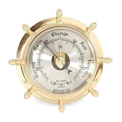 Time Factory AJ-SB402 Lacquered Brass Ship's Wheel Barometer with Beveled Glass