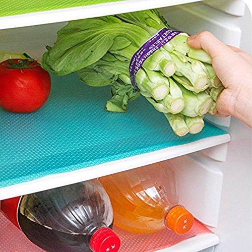 Cafurty 4 Pcs Refrigerator Mats, Fridge Mats Can Be Cut Fridge Pats Waterproof Fridge Pad Cabinet Protective Pads Shelves Drawer Table Mats 17.7x11.4X 0.04IN - Green