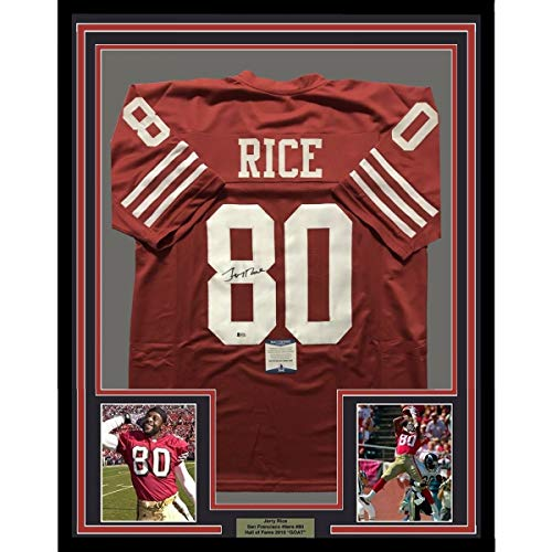Framed Autographed/Signed Jerry Rice 33x42 San Francisco 49ers Red Football Jersey Beckett BAS - Rice Jersey Signed Jerry