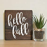 "Hello Fall Small Rustic Wooden Sign 5""X5"""