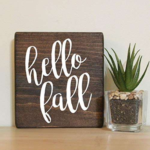 Hello Fall Small Rustic Wooden Sign 5
