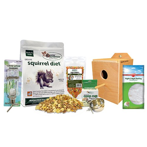 Exotic Nutrition Starter Package for Squirrels - Food, Nest Box, Treats, Cage Accessories