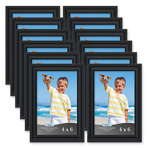 Icona Bay 4x6 Picture Frames (12 Pack, Black) Picture Frame Set, Wall Mount or Table Top, Set of 12 Inspirations Collection -