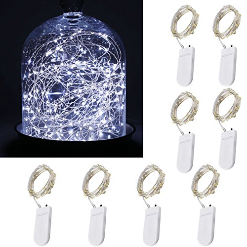 [8-PACK]7.2ft(2.1m)Starry String Llights Battery Operated 20LEDs Cool White Lights On Silver Wire 2pcs 2032 Battery, For Wedding Bedroom Patio Party Christmas Tree Decorations (Cool white) 70%OFF