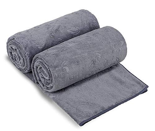JML Bath Towels 2 Pack, Oversized Microfiber Bath Towels(30 x 60), Soft, Antibacterial,Lint-Free and Super Absorption Multipurpose Towels for Bath, Beach, Pool, Sport - Grey Floral Pattern