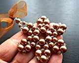 One Large Honey Copper Brown Pearl Beaded Snowflake Ornament Swarovski Crystal Star Tree Decoration Christmas Gift Idea Holiday Decor Wire Wrapped Glass Beads Handmade and Crafted by KapKaDesign