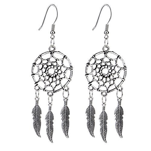 Hosaire Dangle Earrings Girls Vintage Hollow Dream Catcher Feather Drop Earring for Womens Jewelry Style 2