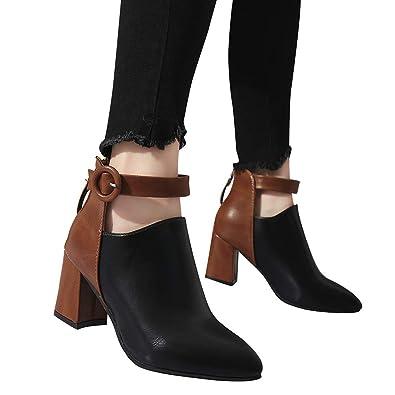 Tatis Schuhes Spitz PU Leder Kontrast Nähte Kontrast Leder Farbe Mode Stiefeletten ... 0e10c7