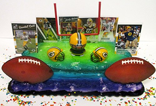 Green Bay Packers Football Themed Birthday Party Cake Topper Set Featuring Packers Stars Football Cards, Team Helmets and More