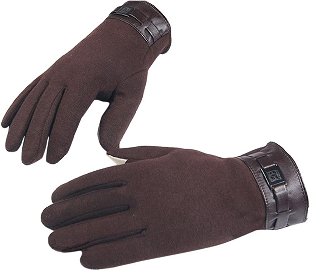 Cnebo Mens Touchscreen Cashmere Warm Gloves,Winter Finger Texting Thermal Windproof Mittens,Cold Weather Driving Outdoor