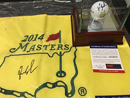(Fred Couples Signed Masters Flag & Masters Logo Golf Ball Lot of 2 - PSA/DNA Certified - Autographed Golf Pin Flags )