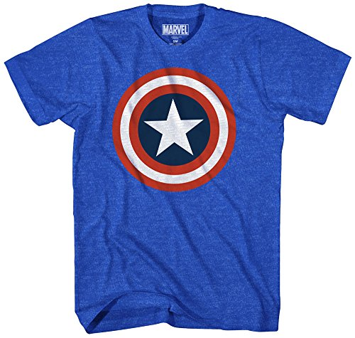 Marvel Men's 80s Captain 2 Short Sleeve T-Shirt, Royal Heather, ()