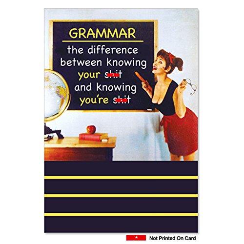 Grammar - Funny Retro Birthday Greeting Card with Envelope (4.63 x 6.75 Inch) - Adult Humor, Naughty School Teacher Lesson - Hilarious Vintage Birthday Gratitude Card for Women, Girls 4126