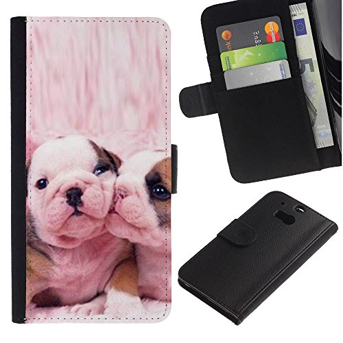 Billetera de Cuero Caso Titular de la tarjeta Carcasa Funda para HTC One M8 / French Bulldog Cute Pink Love Dogs / STRONG