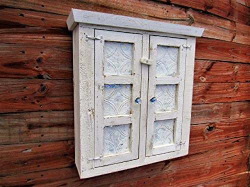 WHITE TIN Shabby Chic Style Spice Cabinet, bathroom cabinet, Essential Oils cabinet, Distressed, French Country,Cabinet, Display Case, CEDAR, HANDMADE