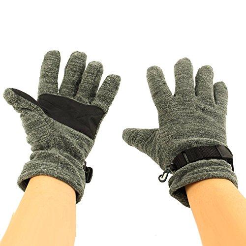 Men's Winter Waterproof Thinsulate 3M Super Thick Marled Fleece Gloves Gray (Fleece Waterproof Hat)