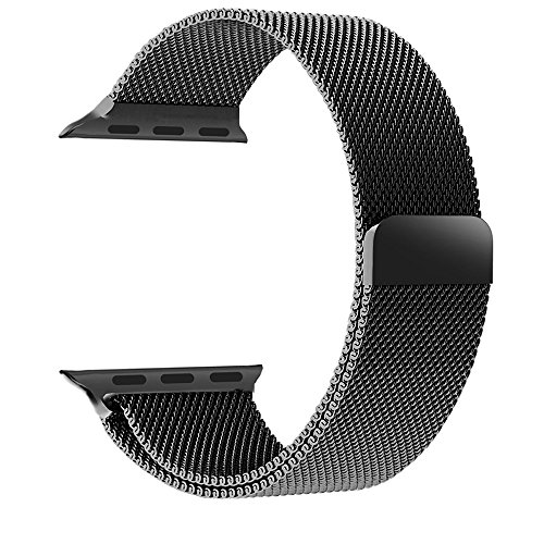 Aerb Milanese Loop Stainless Steel Bracelet Strap Apple Watch Band with Unique Magnet Lock, 42mm, Black
