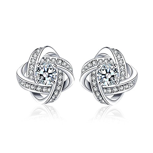 Silver Cubic Zirconia Earrings Gift for Wife Mom and Girlfriend