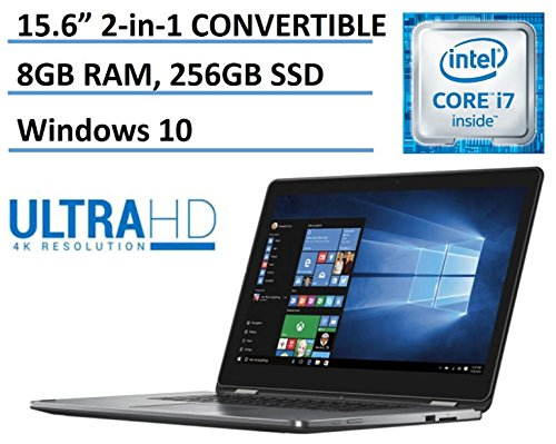 2016 Dell Inspiron 15 7000 2-in-1 Ultra HD 4K Touchscreen Convertible Laptop (Tablet) Intel Core i7-6500U Processor 8GB DDR3 256GB SSD HDMI Backlit Keyboard Bluetooth Windows 10